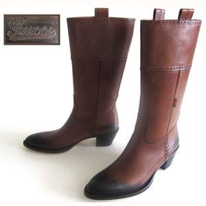 new GUCCI brown ombre western cowboy boots 8 1/2 B